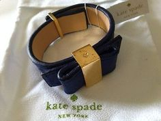New Kate Spade New York Blue Leather Gold Tone Bow Bracelet Bangle Turnlock   eBay