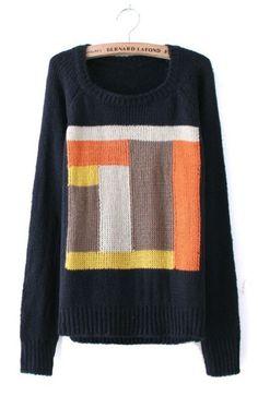 Black Long Sleeve Geometric Sweater