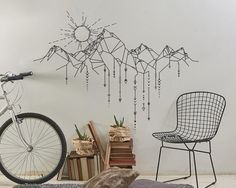 Dramatically convert the look of your living space with this unique geometric mountain and sun wall decal, giving your walls the look of a custom paint job without any of the hassle! This decal is created from my unique, original design and isnt available from any other seller :)   ***ITEM DETAILS***  • Decal is available in 3 sizes:  - 30 X 22  - 38 X 28  - 48 X 36  • See 3rd preview image for available colors  • Every color has a beautiful matte finish that reduces excess glare ***INCLUDED…