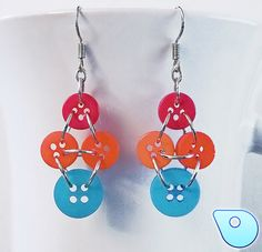Vintage looking button earring, pink, orange and blue