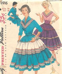 1950s 3 Tier Squaw Skirt with Cummberbund and Blouse - my aunt had one in turquoise and white.