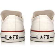 Converse White Chuck Taylor All Star Low Trainers (260 BRL) ❤ liked on Polyvore featuring shoes, sneakers, converse, chaussures, star sneakers, white shoes, star shoes, lacing sneakers and canvas shoes