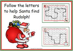 """FREE LANGUAGE ARTS LESSON - """"'Christmas Letter Maze Freebie - Help Santa Find Rudolph"""" - Go to The Best of Teacher Entrepreneurs for this and hundreds of free lessons.  http://thebestofteacherentrepreneurs.blogspot.com/2012/12/free-language-arts-lesson-christmas.html"""