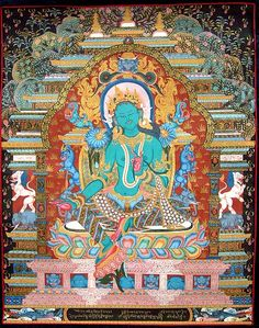 Find exquisite Tibetan Thangka Paintings and Art framed in Traditional Tibetan Silk Brocade and Veil that will mesmerize you only at Exotic India! Color Symbolism, Thangka Painting, Green Tara, Tibetan Art, Buddhist Art, Crown Jewels, Deities, Art Forms, Framed Art