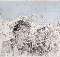Ed Fairburn - Alfred et Jakobine sur plan de Casablanca Ap Drawing, Collage Drawing, Drawing Sketches, Drawings, Map Painting, Painting & Drawing, Watercolor Painting, Ed Fairburn, Map Sketch