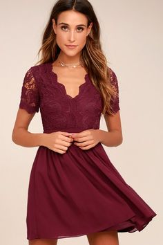 e08a191b Lulus | Angel in Disguise Burgundy Lace Skater Dress | Size Large | 100%  Polyester