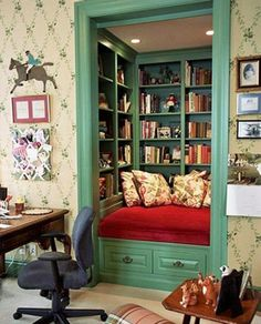 .Perfect for a small closet and library/sitting area. Love those colors!