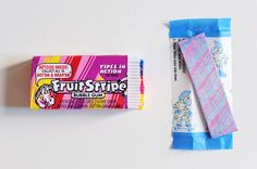 Pin for Later: 11 Reasons It Was Sweet to Be a '90s Kid Fruit Stripe Gum Not only did Fruit Stripe Gum step it up in the food-coloring department, but each stick also came with a temporary tattoo.