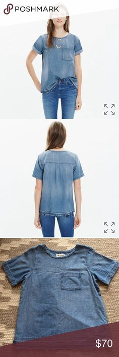 NWT madewell chambray tee NWT short-sleeve denim tee with a perfectly worn-in look. Fun fact: The shirt is sewn and stonewashed before a member of our jeans team lets down the hem by hand, creating a cool raw-edged finish.  True to size. Cotton. Dry clean. Import. Item F0006. Madewell Tops