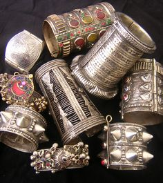 Pakistan / Afghanistan | Collection of bracelets worn by the Kuchi nomads {Mostly Pashtoon and Hazara people from Quetta Pakistan } | © Tribal Heritage on Ethnic Jewels.
