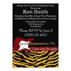 Tastefully Electric Guitar Birthday Invitation