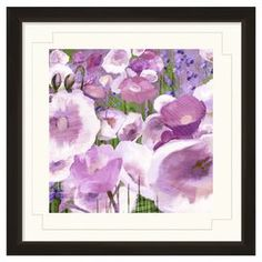 """Framed giclee print with a contemporary floral design.     Product: Framed wall artConstruction Material: Paper, glass, and polystyreneColor: Black frameDimensions: 24"""" H x 24"""" W"""