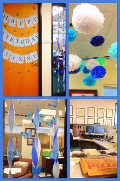 office birthday decoration. office birthday decoration blue damask pompoms butterflies