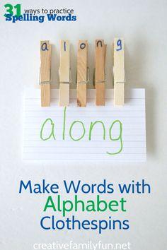 Creative Family Fun: Make Words with Alphabet Clothespins