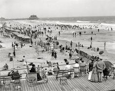 The Jersey Shore circa 1908. Atlantic City boardwalk and bathing beach.