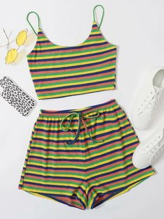 Really Cute Outfits, Cute Comfy Outfits, Striped Cami Tops, Tie Waist Shorts, Teen Fashion Outfits, Indian Designer Wear, Aesthetic Clothes, Pjs, Addiction