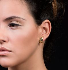 Small & Elegant Gold Stud Earrings, 18K Solid Gold Wedding Earrings, Bohemian / Ethnic Style Wedding Fine Jewelry, Art Statement Bohemian Earrings  One of the biggest trends in the fashion world today fits perfectly in with any of your outfits- adding glimmer and style- statement earrings!  Upgrade your jewelry collection with these artistic and impressive earrings. Perfect to wear with a little black dress for a unique evening look, with a cool T for a bold statement everyday look a...