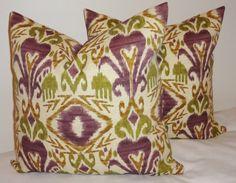 OUTDOOR Ikat Purple Green Brown Indoor/Outdoor Pillow Cover Porch Decorative Pillow 18x18