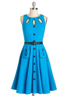 Swell-Heeled Dress in Cerulean A-line. Prove that youre the classiest retro reveler around when you make your rounds in this belted, rockabilly dress! #blue #modcloth