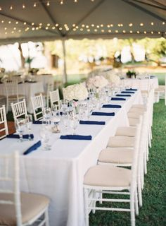 white and navy tablescape  Photography by landonjacob.com  Read more - http://www.stylemepretty.com/2013/08/13/haig-point-wedding-from-landon-jacob/