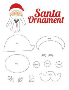Handprint Santa Ornament  and a lot of other holiday printables