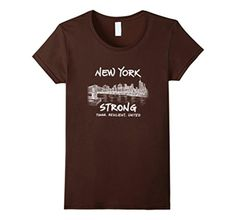 Women's New York Strong Tough United Brooklyn Bridge T Shirt Medium Brown - Brought to you by Avarsha.com