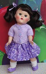 "~SHaDeS oF HeaTHeR~..a cute handknit sweater & skirt set for Ginny, Muffie, or Madame Alexander 7.5"" DoLLs. Newly created in beautiful shades of lavender and at my website www.karmelapples.com now for instant purchase. You can click the picture to take you there. This outfit SOLD, BUT you can special order a set just like this. It will be at your door in 2+ weeks or less. Click the pix."