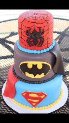 Superman batman Spider-Man cake