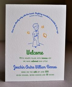 Letterpress bilingual French/English 2 sided baby boy announcement printed 3 colors on both sides of double thick lettra