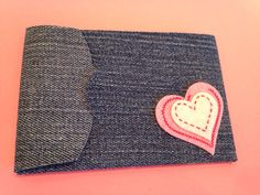 Valentine gift card holder made from jeans by creativeseconds