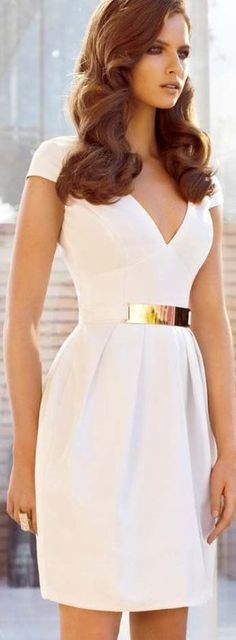 Gorgeous White Dress With Gold Belt
