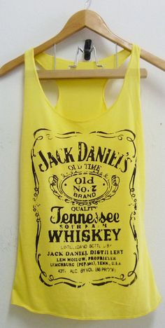 Yellow Jack Daniels whiskey sign Tank top size S/M polyester cotton blend singlet top for women. $12.50, via #T Shirt Cute| http://tshirtgirls.lemoncoin.org