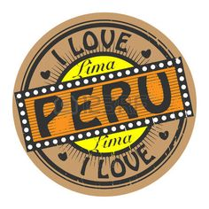 Sello del color de Grunge con el texto Amo Perú en el interior