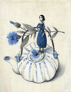 made by: Barbara Baldi , illustration - (little woman on teapot)