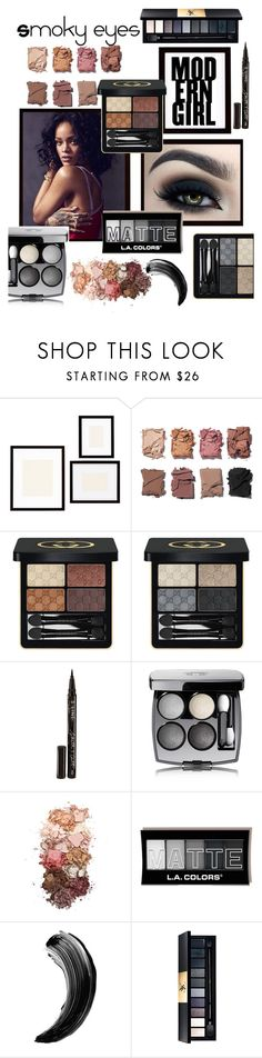 """""""Smoky Eyes"""" by perriemaynard on Polyvore featuring beauty, Pottery Barn, Too Faced Cosmetics, Illamasqua, Gucci, Smith & Cult, Chanel, Sigma and John Lewis"""