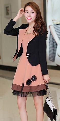 2in1 Korean Set Dress Plus Blazer Jacket YRB0284