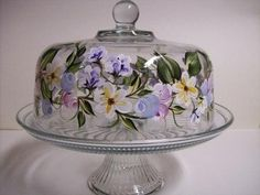 Dome Cake Dish Hand painted  with Multi Color Floral