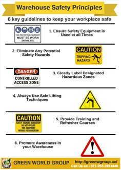 Warehouse Safety Principles: 6 key guidelines to keep your workplace safe. for any further health and safety international certification please visit http://greenwgroup.ae/