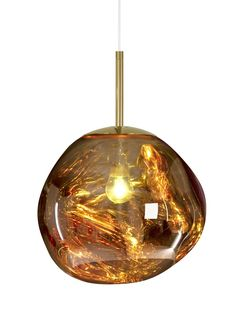 Inject incredible modern design into your home with this Melt Mini Pendant Light from Tom Dixon. Crafted from polycarbonate, its distorted shaping rests in a chic mirrored finish when the light is swi Ceiling Pendant, Gold Pendant, Pendant Lamp, Pendant Lighting, Ceiling Lights, Chandelier, Suspension Tom Dixon, Tom Dixon Melt, Tom Dixon Lighting