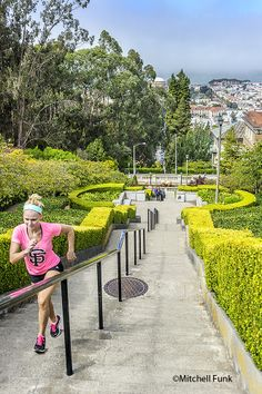 Working Out On The Lyon Street Steps In Pacific Heights,  San Francisco By Mitchell Funk   www.mitchellfunk.com