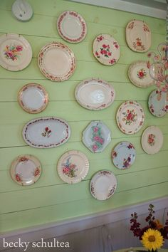 a wall of vintage china plates at the bed and breakfast. I Love dishes! Vintage China, Vintage Plates, Vintage Dishes, Vintage Love, Vintage Decor, Antique Dishes, Plates On Wall, Plate Wall, Hanging Plates