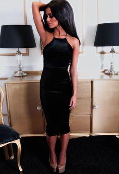 Endearment Black Velvet Midi Dress
