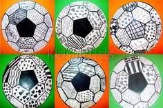 """Kids Artists: The most beautiful soccer ball!""  Use for homeschooling project: ""Reach Your Goals!""  or something; decorate a bunch of balls, write personal goal statements on them."