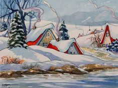 Cute Cottage, Cottage Art, Christmas Scenes, Christmas Art, Illustrations, Illustration Art, Image Deco, Storybook Cottage, Winter Art