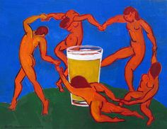 The Dance Around A Pint, Inspired by Matisse, Craft Beer Gifts, Gift for Husband, Bar Art, Brewery Art, Gift for Home Brewer, Man Cave Art