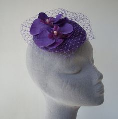 Purple Flower Fascinator with Veiling and by ImogensImagination, £30.00