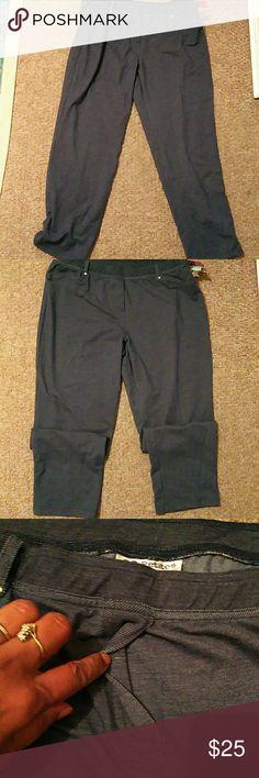 C.D. Petites Jean colored stretchy spandex pants faux zipper x-large petite c. d. petite Pants Leggings