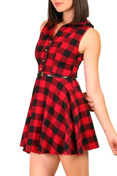 Classic red-and-black buffalo-check plaid isn t just for lumberjacks  anymore. This sweet, tailored, fit-and-flare cotton-flannel skater dress is  such a ... 58a107017f