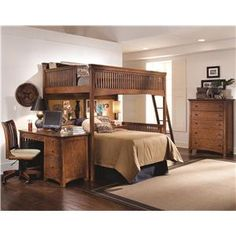 Lea Industries Elite - Crossover Twin Lofted Bed with Slat End Panels - Belfort Furniture - Loft Bed