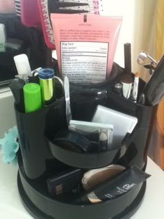 DIY Makeup organization. Use a desk organizer for makeup / hair accessories! A great gift idea for a teen girl or adult woman.  I bought this at staples here is the link if you want the same one http://www.staples.com/Staples-10-Compartment-Rotating-Desk-Organizer-Black/product_806950